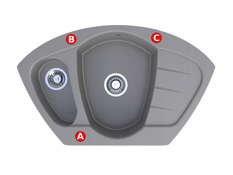 Zlewozmywak granitowy narożny Compact bateria otwory do wyboru