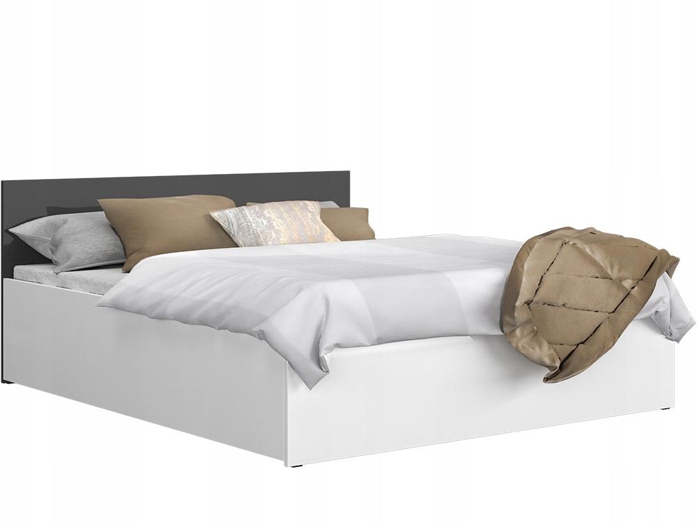 Białe Szare łóżko Panama 180x200 Stelaż Materac
