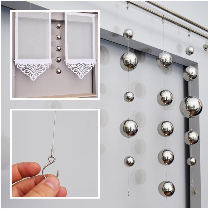 Dekokugel dekokette gardinen fensterdekoration silber nr 827 ebay - Dekokette fenster ...