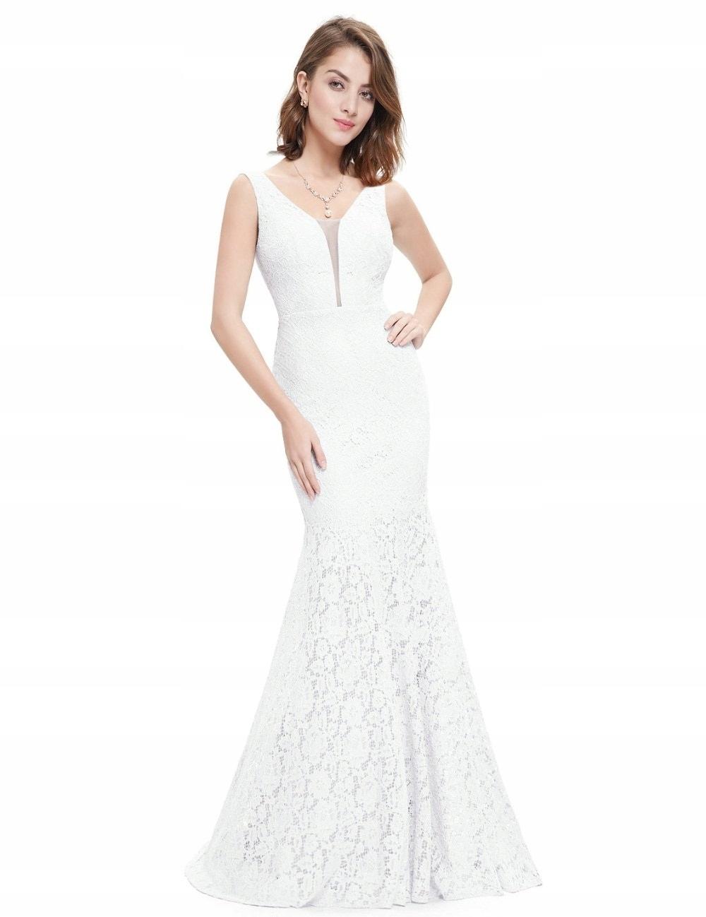 Suknia ślubna Typu Empire Długa Wesele Koronkowa S 7646527678