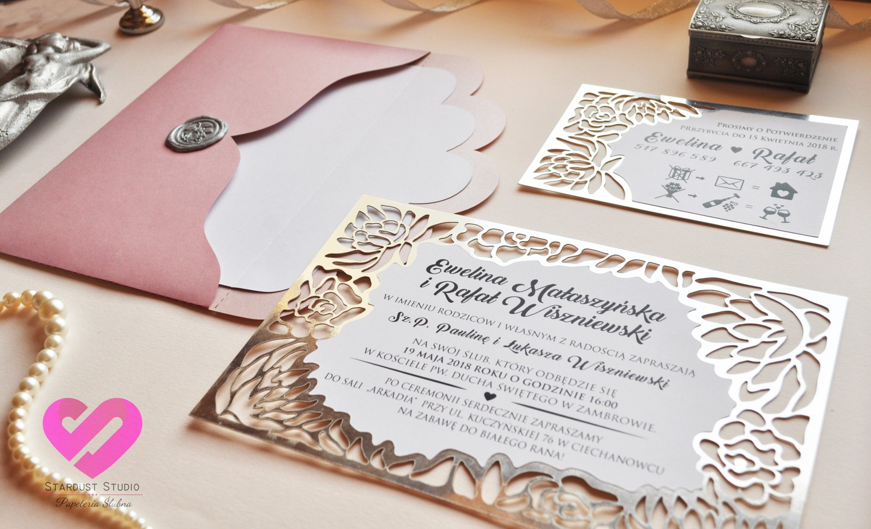 Zaproszenie ślubne Laserowe Flower Frame Próbka 7242341823