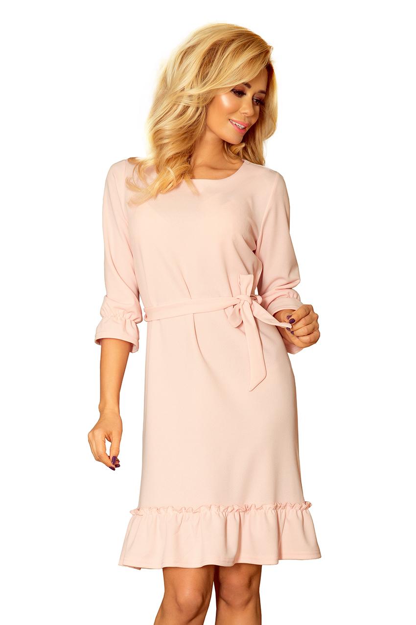 a2e8b9e9c3 sukienka elegancka falbanki wiązanie różowa L (7438209697) - Allegro ...