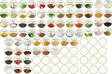Etikety na korenie, samolepky na farebné nádoby