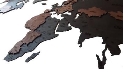Карта мира на стену 16мм Дерево 200x100 Дерево
