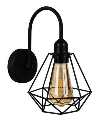 Lampa black metal loft loftowy na stenu