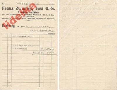 1932 TOST OS TOSZEK MISTRZ STOLARSKI PACZYNA ŚLĄSK