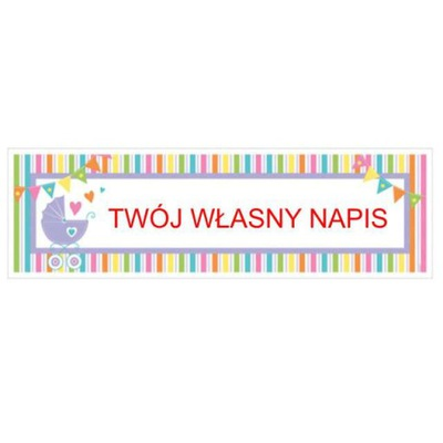 girlanda TWÓJ WŁASNY NAPIS baner BABY SHOWER 165cm