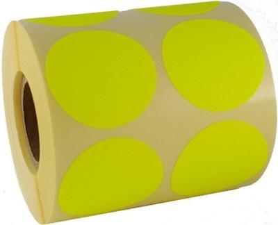 żółte kolorowe etykiety naklejki koła nalepki 50mm