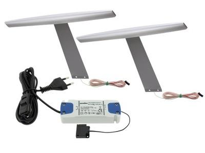 Lampa, luster, svietidlo -  Kpl 2x Lampa LED meblowa na wysięgniku ELIPSA1+zas