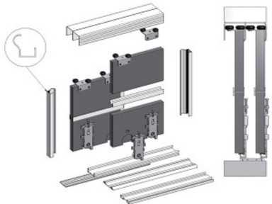 Systém posuvné dvere, šatník 2 m 2 s BIMAK
