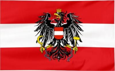 Flaga Austria z herbem 100x60cm - flagi Austrii qw