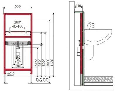 Montážny rám pre závesné WC - TECE Podomietkový rám pre umývadlo TECEprofil GWAR