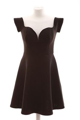 aacf285a8f czarna piankowa sukienka z falbanką na dole - 6982045443 - oficjalne ...
