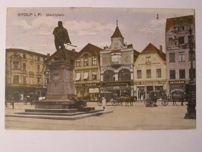 Słupsk Stolp rynek dorożki 1921