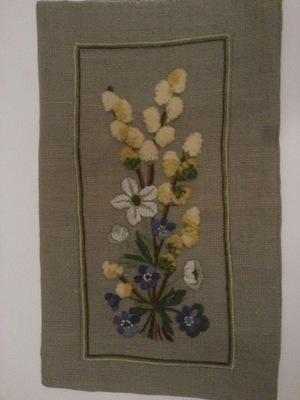 ковер ПРОФИЛЬ вручную ВЫШИТЫМ холст цветы