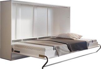 łóżko Chowane W Szafie Poziome 90x200 Cm Biały Mat