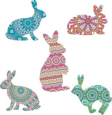 Farebná nálepka, zajačiky, zajačiky, rôzne boho vzory