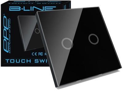 B -LINE Выключатель Соединитель Сенсорный стеклянный 2Г Черный