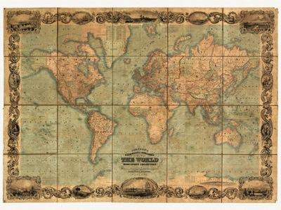 Карта Мира ДЖОНСОН 1847 холст