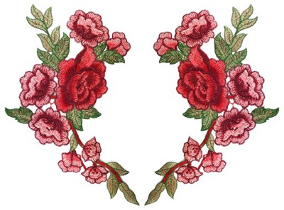 комплект 2 штуки полоса роза цветы вышивка 31cm