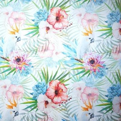 Tkanina tapicerska materiał welur Kwiaty i papugi
