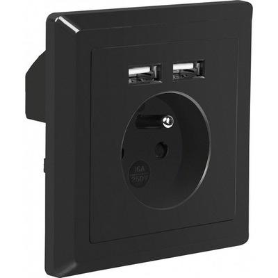 РОЗЕТКА Электрические 230 +2x USB 2 .1A черные