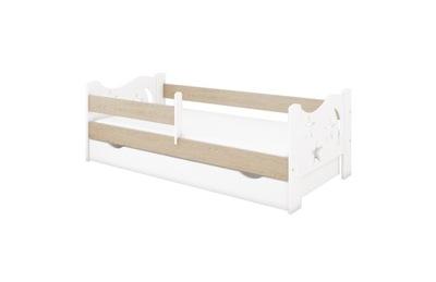 Posteľ so zásuvkou a matrac 180x80 biela-dub