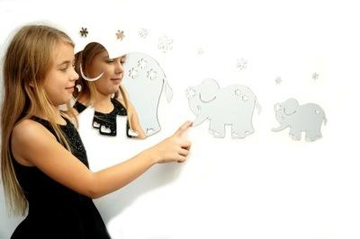 3D ornament do izby - Detská dekorácia 3D ELEPHANTS akrylové zrkadlo