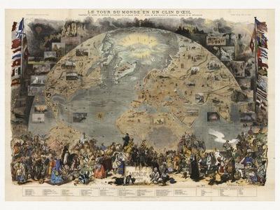 Карта Мира Скотт 1876 холст