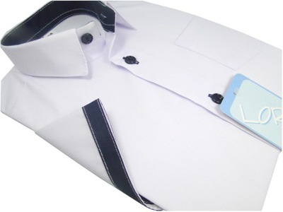 Koszula chłopięca wizytowa biała krótki rękaw 158