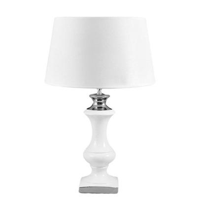 stolná LAMPA WHITE-SILVER, KERAMICKÉ, h-47 cm