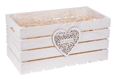 Úložný box - SKRZYNKA z sercem BIAŁA PODZIĘKOWANIA GRAWER ślub