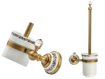 RETRO staré zlato / keramické wc kefa starožitné