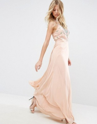 83187c39e15e73 ASOS pudrowa maxi sukienka bizuteryjny top 38 M 7347104619 - Allegro.pl