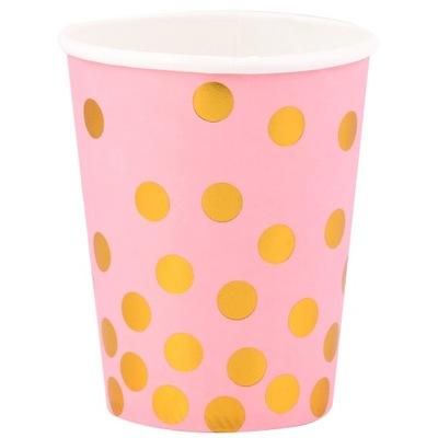 Detský hrnček, pohár - MUGS, 270ml, 6ks ružová so zlatými glamour bodkami