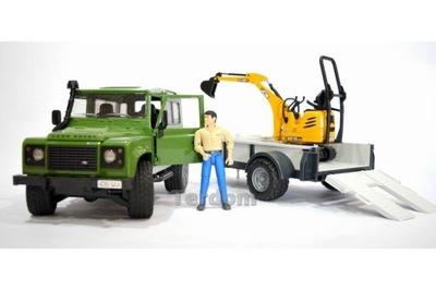 BRUDER 02593 Land Rover s prívesom a rýpadlá