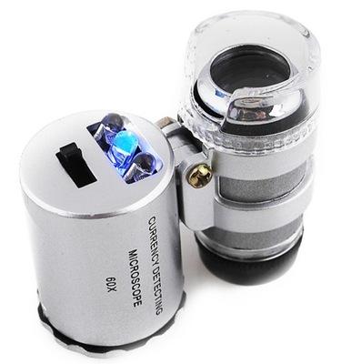 Лупа Ювелирная Микроскоп карманный 60x LED + УФ