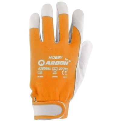 Pracovné rukavice Kožené mechanické 12 párov HOBBY 9