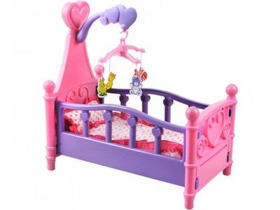 Detská postieľka pre bábiku - Veľká posteľ pre panenku LALEK + karusel
