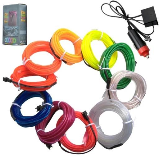 5m światłowód el wire led шлейф ремень ambient, фото