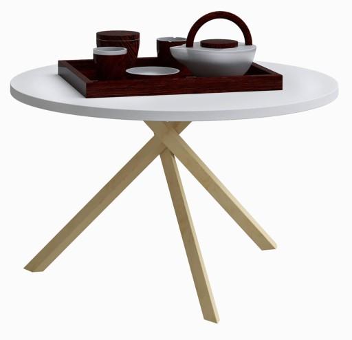 Stolik Kawowy Mały Drewniany Biały ława Okrągły 5838383935 Allegropl