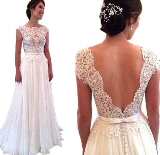 cff7b20072 SUKNIA ŚLUBNA sukienka LINIA-A KORONKA 34 XS naJUŻ 7826859163 ...