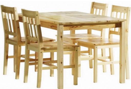 Duży Drewniany Stół 4 Krzesła Meble Do Kuchni