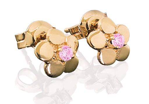 Złote kolczyki kwiatki dla dziewczynki, próba 333