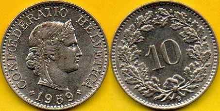 SZWAJCARIA  10  Rappen  1959 r.