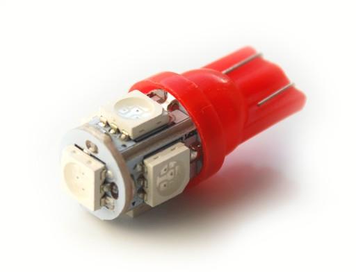 24V czerwony T10 W5W 5 LED x 5050 SMD 7634945474