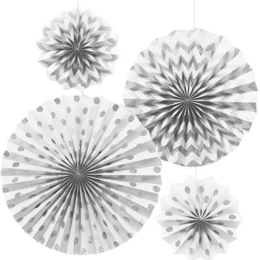 Wiszące Rozety Dekoracyjne Brokatowe Białe 4 Szt