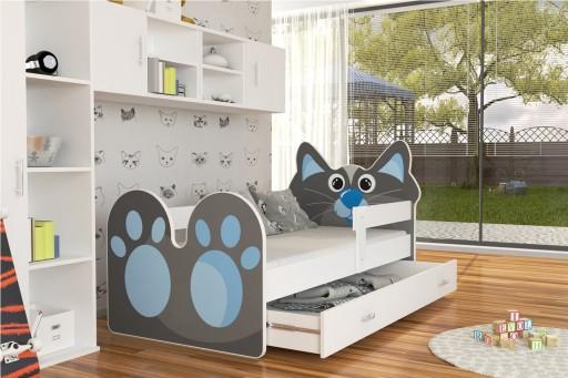 Łóżko KOTEK 160x80 wzory + szuflada + materac