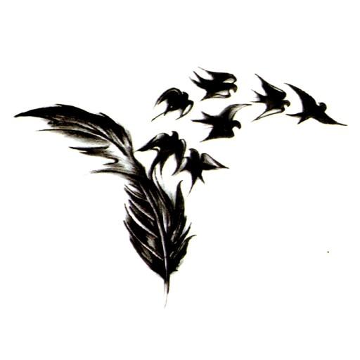 Tatuaż Zmywalny Ptaszki Bird Piórko Pióro Ptak Art