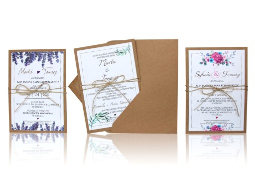 Zaproszenia ślubne Vintage Eko Boho Rustykalne Cz1 7701458209